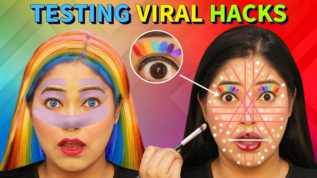 Testing Most Viral Makeup Hacks😱 It's Workingअनोखे मेकअप करने के तरीके हैरान हो जाओगे @BE NATURAL