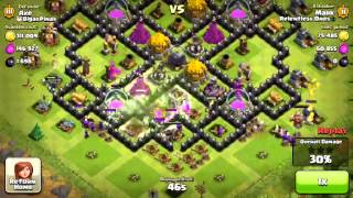 Clash of Clans Gameplay- Town Hall 9 Defense - Rage, Jump spells, and Golem!