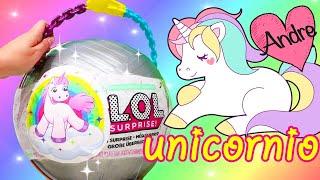 Bola Gigante de Unicornio con bebes LOL | Jugando muñecas y juguetes con Andre para niñas y niños