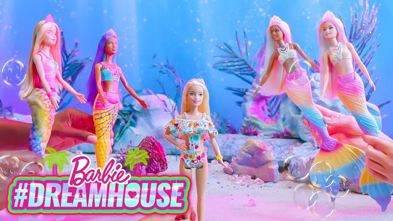 @Barbie | BARBIE MERMAID 🐚 PARTY with the COLOR CHANGE MERMAIDS! 🎨 | #Dreamhouse REMIX