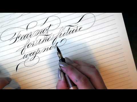 Writing calligraphy with a Desiderata Flex pen