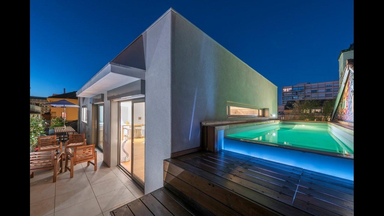 Penthouse d 39 exception avec terrasse et piscine espaces - Maison a louer barcelone avec piscine ...