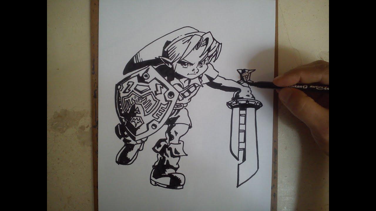 Como Dibujar A Link Legend Of Zelda Youtube