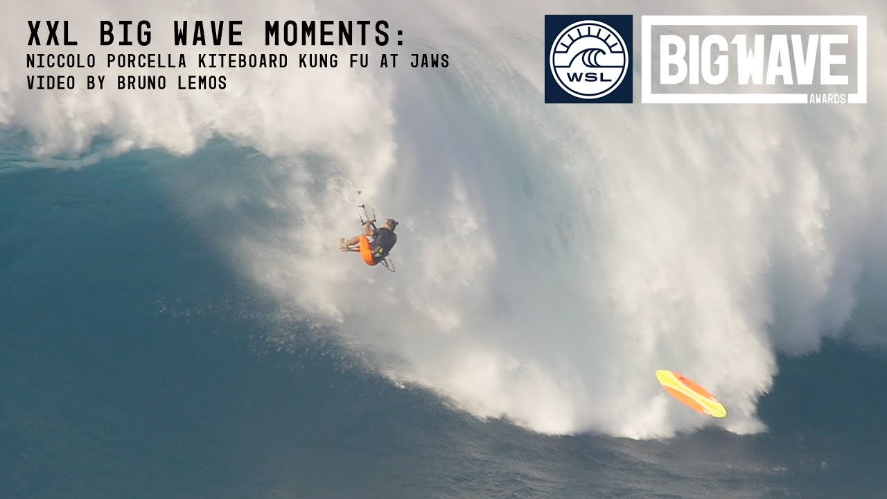 VIDEO – Surfista sferra un calcio volante al cuore di un'onda gigante