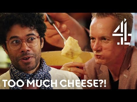 'It's An Awful Lot of Cheese!' Richard Ayoade and Frank Skinner Try Fondue In Zurich  Travel Man