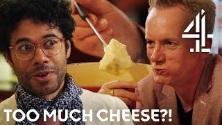 'It's An Awful Lot of Cheese!' Richard Ayoade and Frank Skinner Try Fondue In Zurich | Travel Man