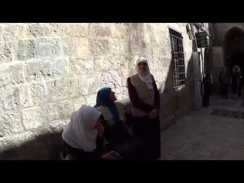 Muslim women trying unsuccessfully to to disturb the Jewish prayer at the Western Wall. Sad.