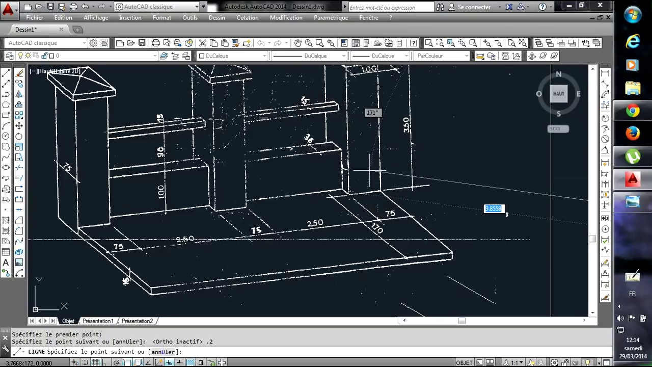 Dessin mur de cl ture sur autocad 1 2 youtube for Dessin mur