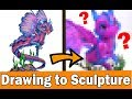 TURNING YOUR ART INTO SCULPTURE #1 Polymer Clay Dragon DIY CRAFT Art Challenge
