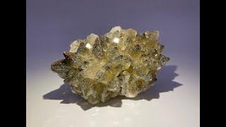 Iridescent Chalcopyrite on Dogtooth Calcite from Tonglushan Mine (Daye Copper Mine), Hubei, China