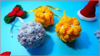 Esferas navideñas con tejido de flores, estrellas crochet Christmas ball diy