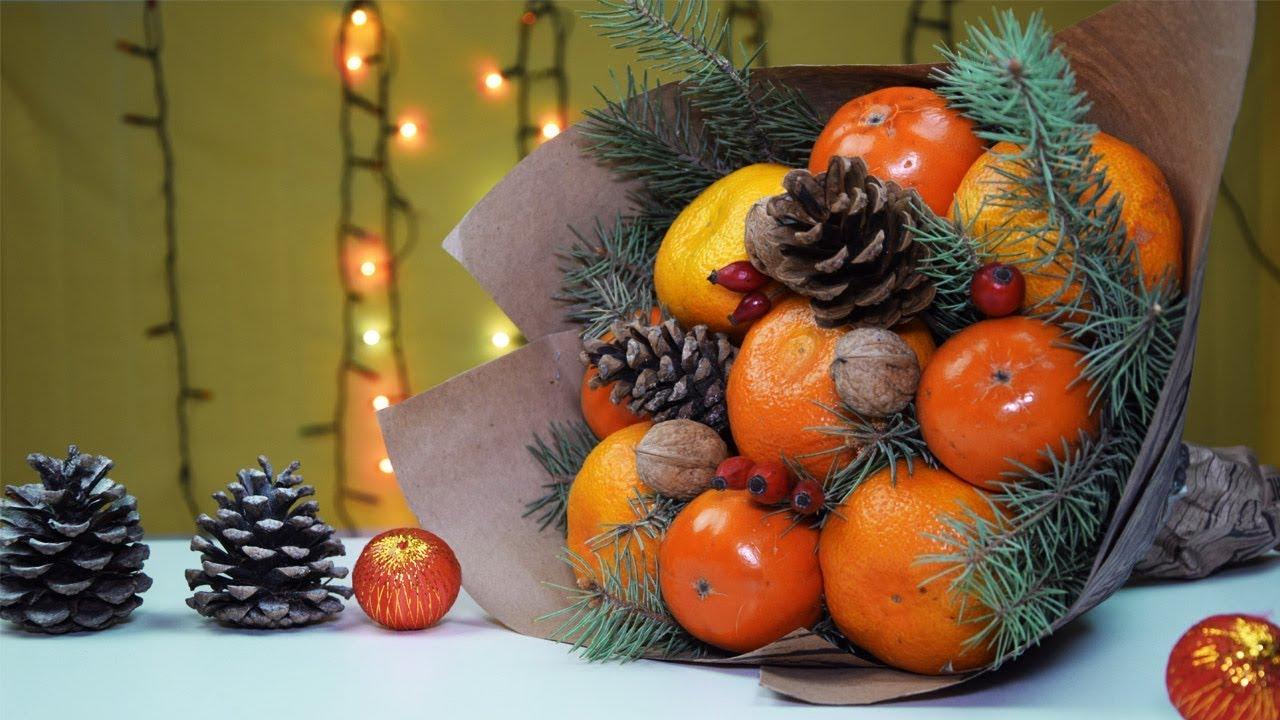 Букет из фруктов на НОВЫЙ ГОД своими руками ️Новогодние ...