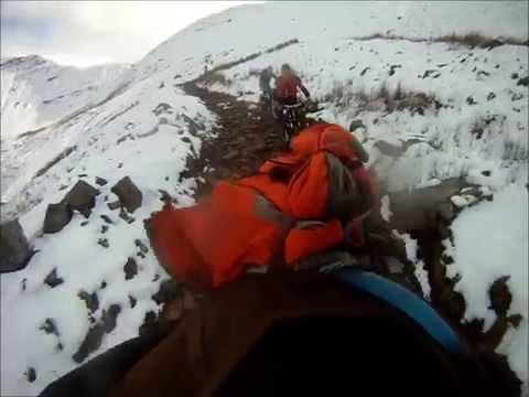Snow At 'The Gap', Brecon Beacons. MTB Descent From Col At Cribyn & Fan-y-Big