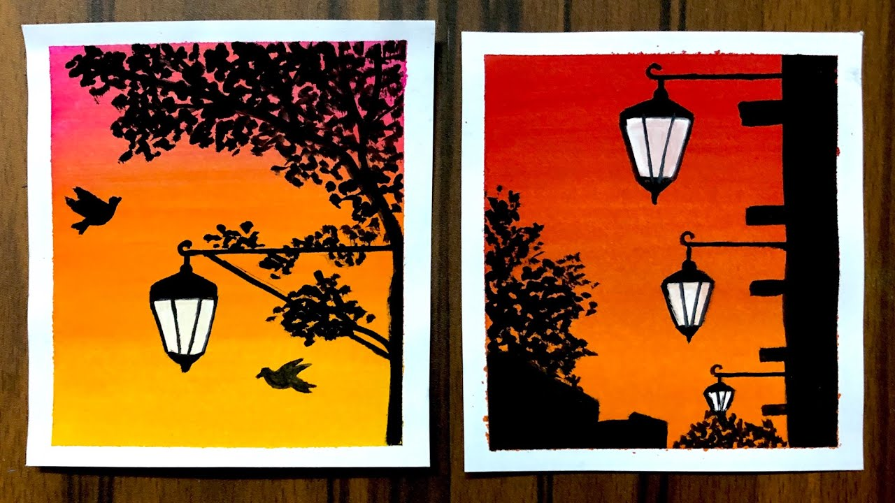3 Easy Painting Ideas For Beginners Poster Colour Lamp Paintings Simple Painting Ideas Youtube