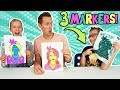 3 MARKER CHALLENGE w/ our DAD!!! Part 2