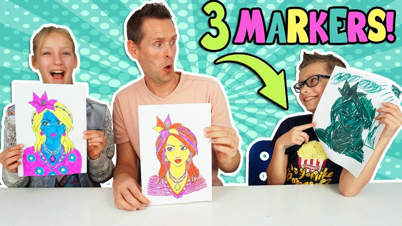 Download 3 MARKER CHALLENGE w/ our DAD!!! Part 2