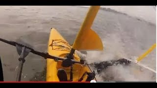 Hobie Mirage adventure island sailing kayak on a windy day in Long Beach NY
