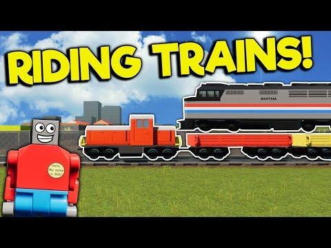 RIDING & CRASHING TRAINS IN MULTIPLAYER! - Brick Rigs Gameplay - Lego Train Simulator Crashes