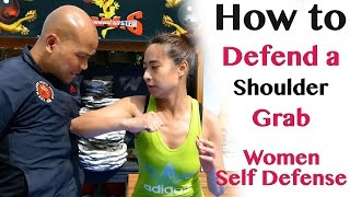 How to defend a shoulder grab | women self defence (in Chinese cantonese) Hong Kong 如何不被色狼咸豬手之 搭膊頭篇