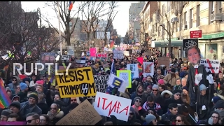 USA  LGBTQ protesters rally in NYC against Trump's travel ban