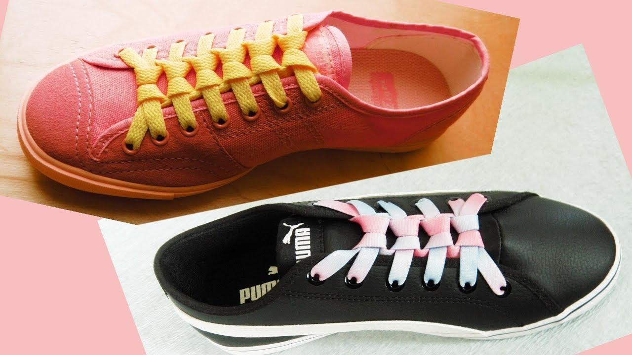 〔靴紐の結び方〕小さなリボンが並んでいるみたいな靴ひもの通し方 平ひも編 how to tie shoelaces 〔生活に役立つ!〕