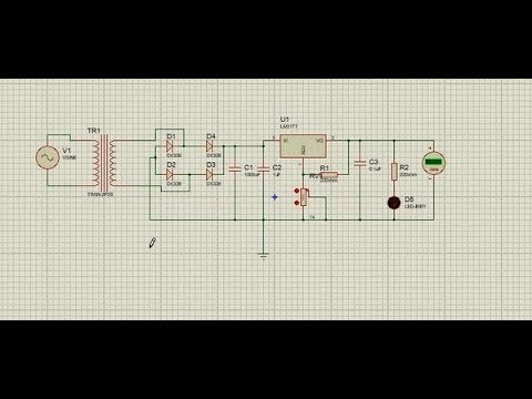 how to make a DC variable power supply circuit with Proteus