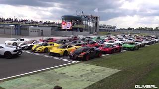 50 million $ worth of cars racing in track , Lamborghini, ferrari,porch,As,buggati devel 16 all cars