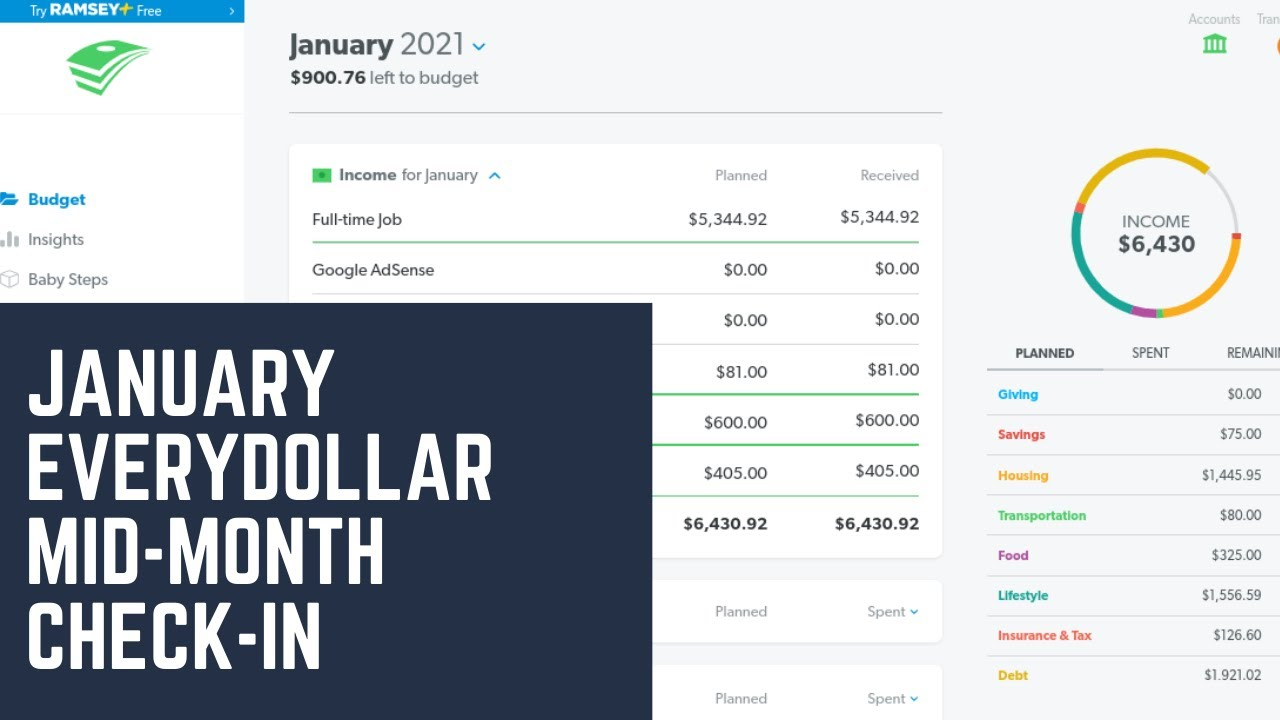 Budget with Me| January 2021- EveryDollar Mid-month Check-in| Debt: $40,534.18