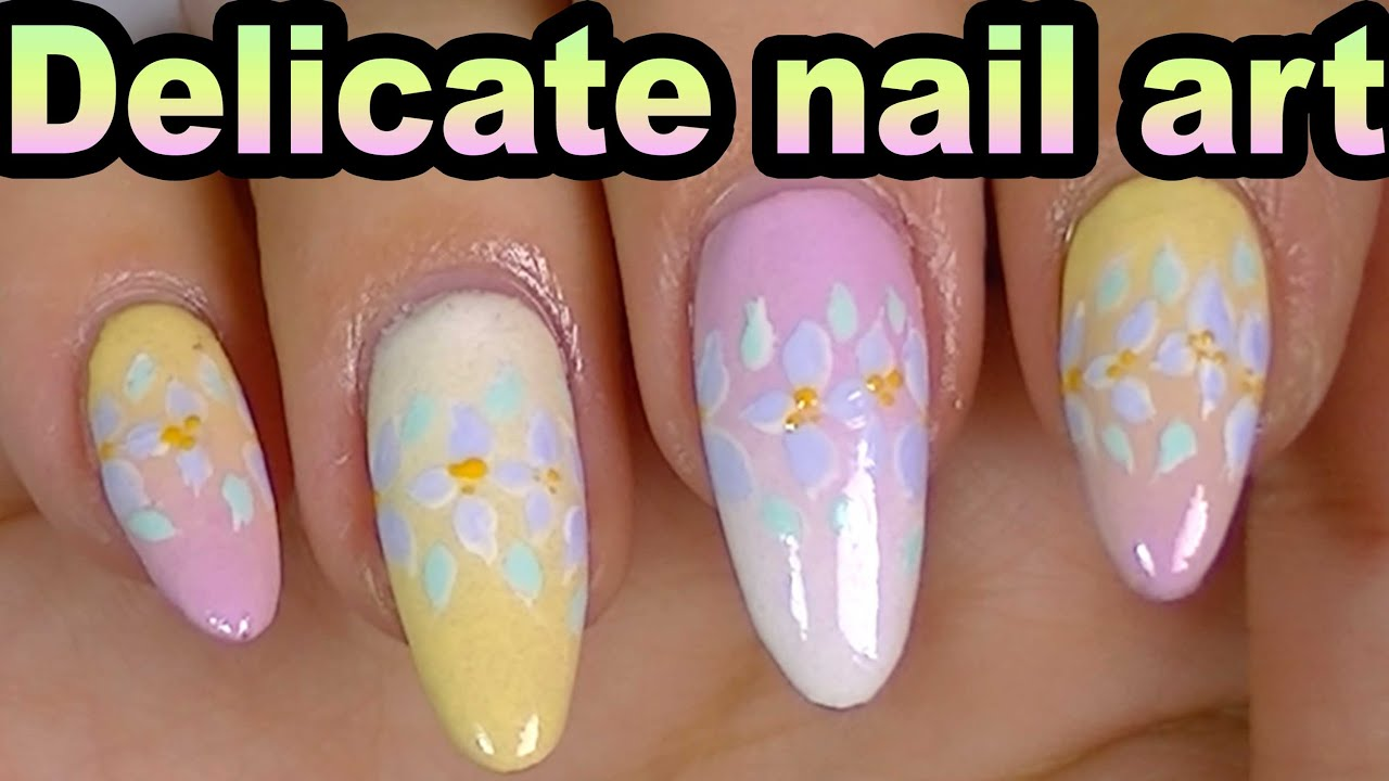 Delicate Flowers Colorful Gradient NAIL ART;Long Stiletto ...