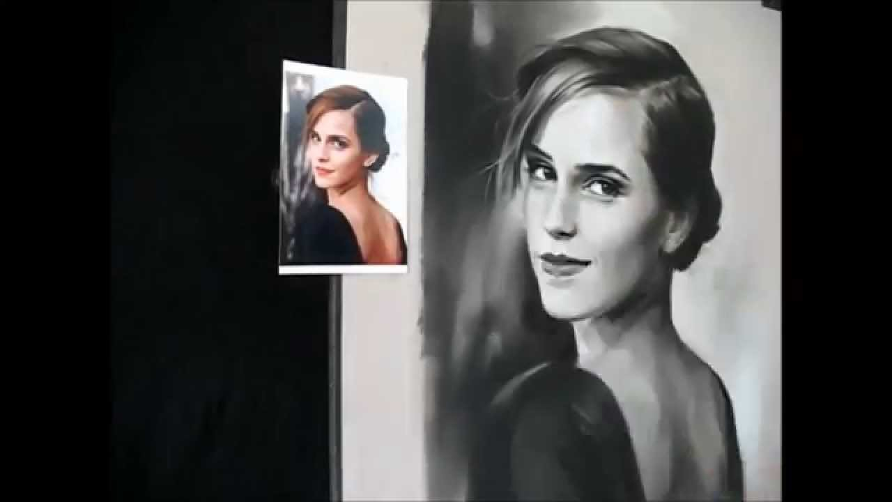How to draw a pastel portrait step by step emma watson black white soft pastels youtube
