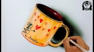 How to Draw a Coffee Mug l 3D Art on Paper