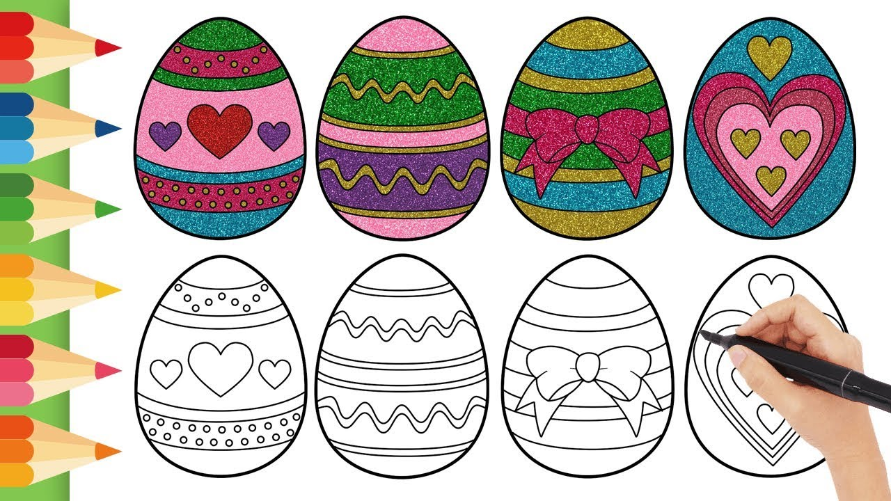 How to Draw Easter Eggs l Colorful l Colouring with Glitter l Easy Draw For  Kids