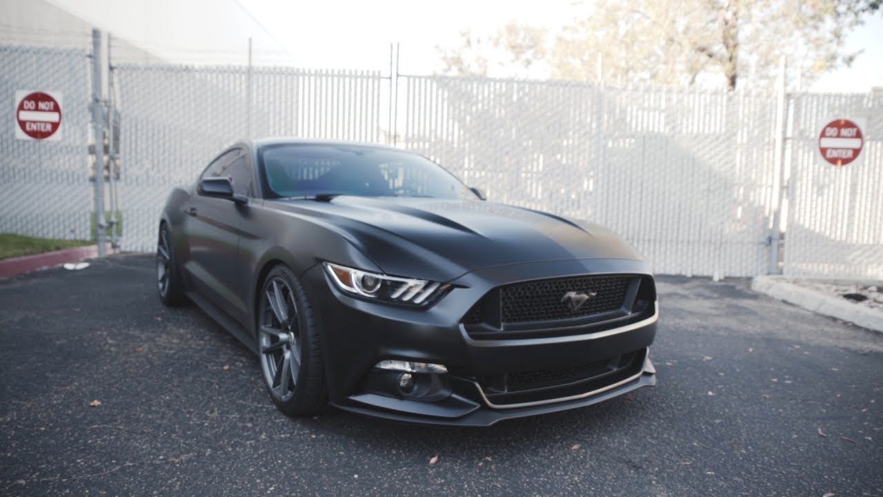 insane satin black mustang with the latest hre wheels