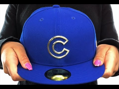 c77d77cc494 Cubs  GOLD FRAMED METAL-BADGE  Royal Fitted Hat by New Era - YouTube