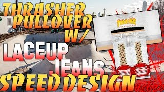 ROBLOX SPEED DESIGN | Thrasher pullover w com cordões jeans