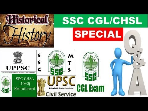 Most Important Indian History Questions SSC CGL MTS Railways CHSL UPSC CLAT CDS NDA