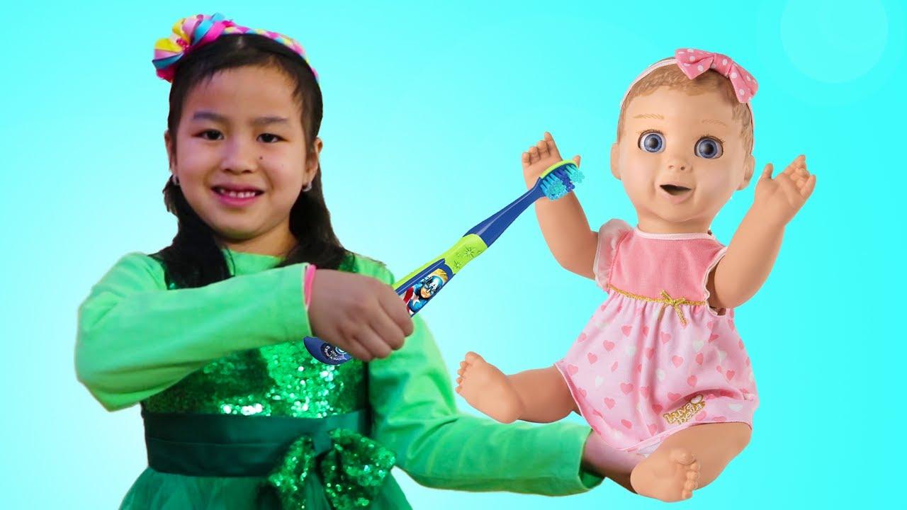 Jannie Juega con Muñecas Baby Doll|Rutina Escolar de Mañana Para Niños| Aprende a Contar Números