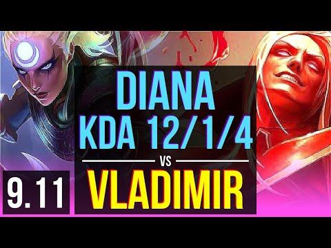 DIANA Vs VLADIMIR (MID) | KDA 12/1/4, 2 Early Solo Kills, Legendary | EUW Diamond | V9.11