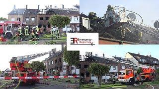 [GROSSEINSATZ FEUERWEHR KÖLN] - Reihenhaus im Vollbrand ~ Feuer griff auf weitere Häuser über -