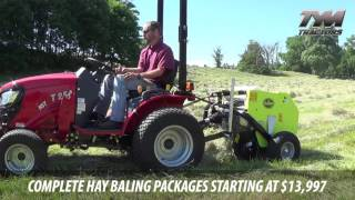 Tractor Tools TX28 Mini Round Baler by CAEB on TYM T254 Subcompact Tractor