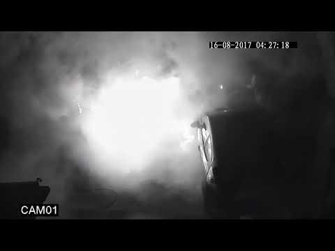 CCTV shows arsonist torch car