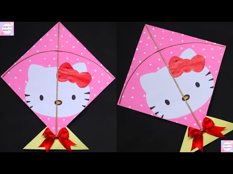 Kite Making | How to make kite at home /DIY Hello Kitty Kite /  | Patang making/हैलो किट्टी पतंग