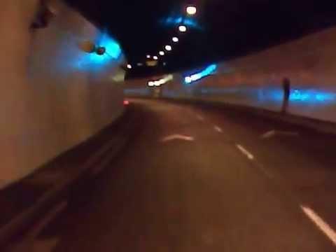 Driving through Dublin Port Tunnel, Ireland