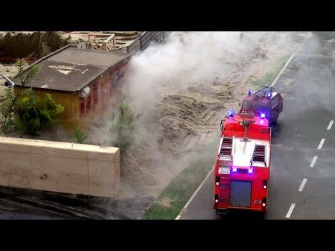 RC Fire Trucks Engine Ladder Fire Fighter Feuerwehren im Einsatz Brand ♦ Lingen 2016