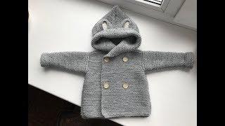 Детская кофточка-вязание спицами.Жакет описание.Ч 3.Duffel.Кофта спицами для начинающих