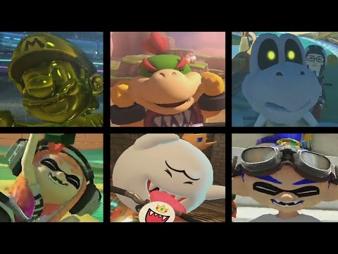 Mario Kart 8 Deluxe - All 6 New Characters Gameplay (Inklings, Gold Mario, King Boo, Bowser Jr, etc)