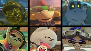 mario kart 8 deluxe all 6 new characters gameplay inklings gold mario king boo bowser jr etc