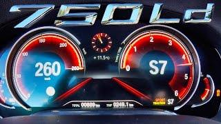BMW 750d QUAD TURBO Xdrive ACCELERATION & TOP SPEED 0-260 km/h Autobahn Test Drive