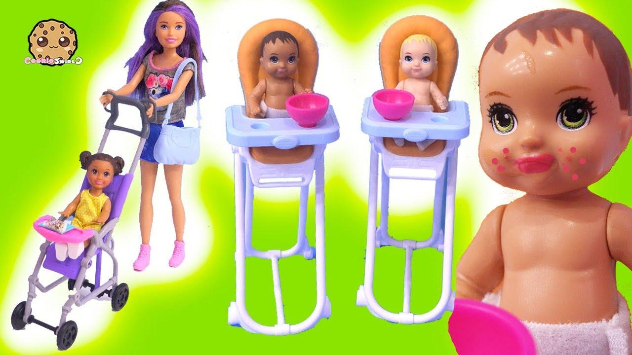 Color Change Babies ! Baby Sitting Barbie Doll Stroller ...