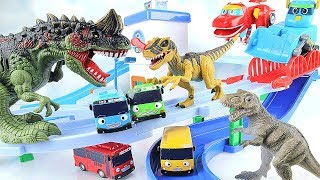 Dinosaurs Attack Tayo Bus Town. Learn Dinosaur with GoGo Dino Rex Eggs Toys. Fun Video~